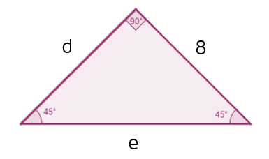 Practice problem: Find the missing sides of the 45-45-90 triangle.