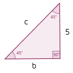 45-45-90 triangle practice problem. Find the missing leg and hypotenuse.