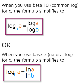 Simplified change of base formula for common and natural logarithms.