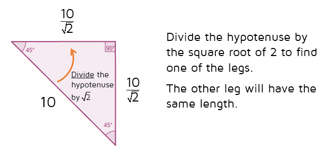 Use the shortcut rule to find the leg of a 45-45-90 triangle given the hypotenuse.