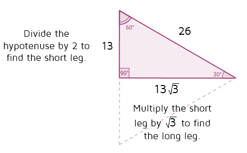 Use the shortcuts to find the missing sides of a 30-60-90 triangle.