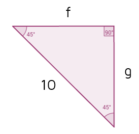 Find the legs of a 45-45-90 triangle given the hypotenuse.