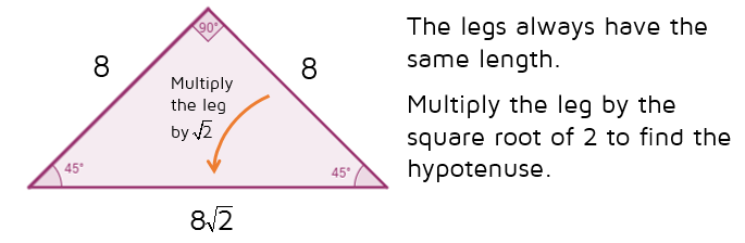 Use the shortcut rule to find the missing sides of a 45-45-90 triangle.