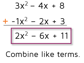 Polynomial addition and subtraction problems.