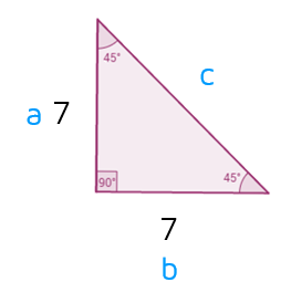 Using the Pythagorean Theorem to find hypotenuse of 45-45-90 triangle.