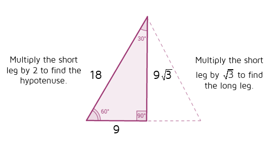 Use shortcut rules to find missing sides of 30-60-90 triangle.