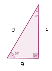 Find the missing sides of the 30-60-90 triangle.