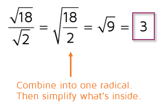 How to simplify an expression with division of radicals.