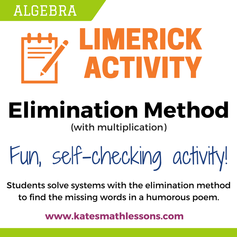Solving A System Of Equations With Elimination Kates Math Lessons