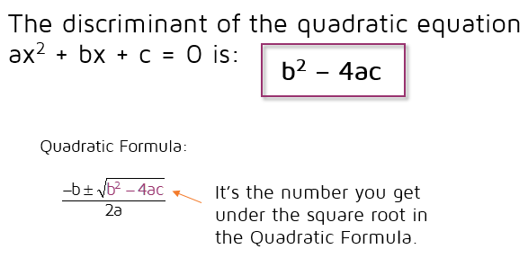 The discriminant is the number you end up with under the square root in the quadratic formula. It's the value of the expression b squared minus 4ac.