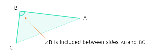 Included angle between two sides of a triangle