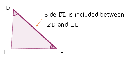 Included side between two angles in a triangle.