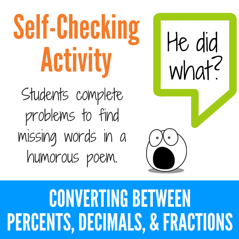 Converting Percents, Decimals, and Fractions Fun Activity
