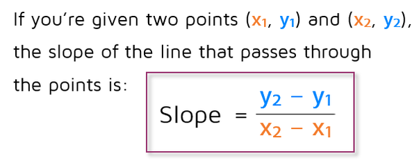 Formula for the slope of a line through two points.