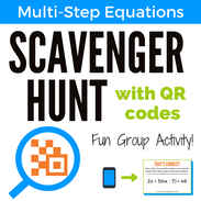 Multi-Step Equations Scavenger Hunt with QR Codes