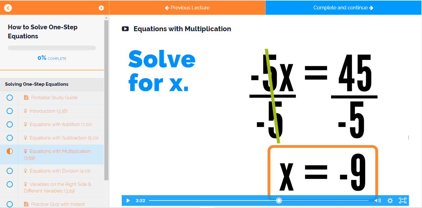 How to Solve a One-Step Equation - video lesson with examples and step-by-step directions.