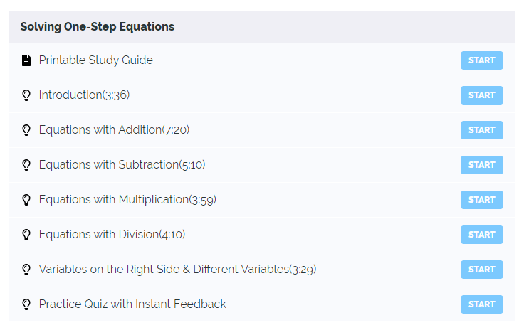 One-Step Equations Course Curriculum