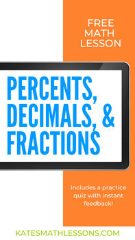 Converting Percents, Decimals, and Fractions Free Math Lesson