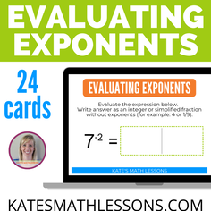 Evaluating Exponents Boom Cards - digital activity great for distance learning!