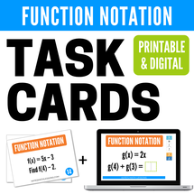 Function Notation Task Cards and digital Boom Cards - distance learning algebra activity