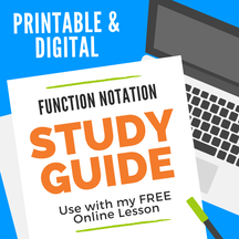 Function Notation FREE study guide.  Guided notes great for distance learning.