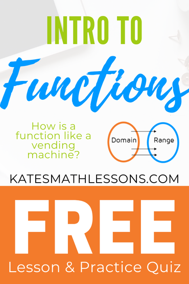 Free algebra lesson: Intro to Functions, Domain, and Range