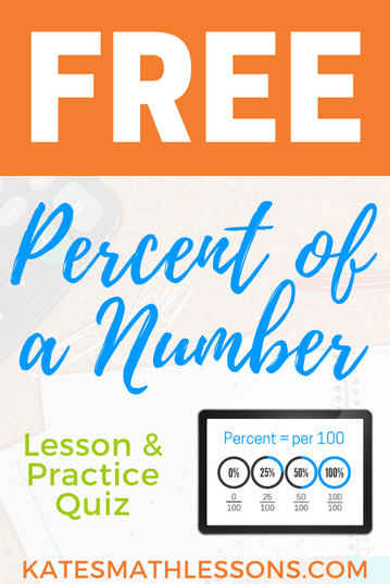 Free Math Lesson: Finding the percent of a number using proportions or decimals.
