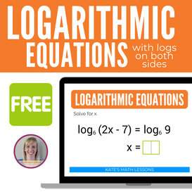 Solving Logarithmic Equations with logs on both sides free digital activity