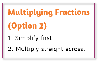 Alternate rule for multiplying fractions. Simplify first and then multiply.