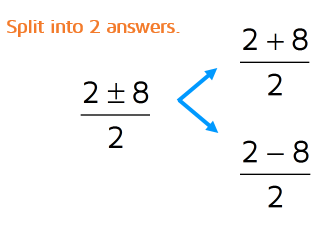 After you simplify the numerator and denominator, split into two answers. Use a + sign in one and a - sign in the other.