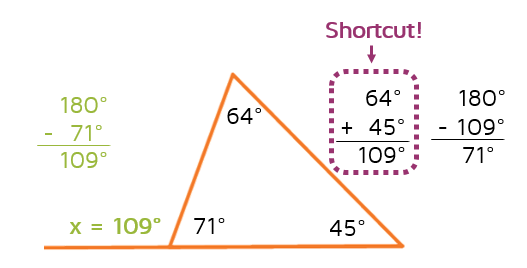 What's the shortcut to finding an exterior angle?